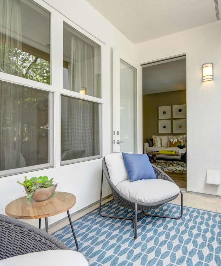 Spacious private back patio at Domus on the Boulevard in Mountain View, California