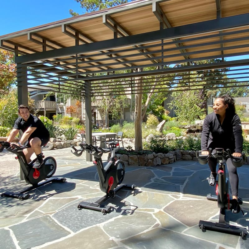 Outdoor Spin Cycle Patio Cupertino, California at Glenbrook Apartments