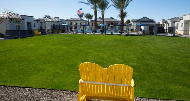 Chairs and space of event lawn at Christopher Todd Communities On Camelback in Litchfield Park, Arizona