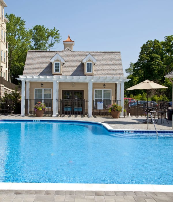 Beach ball floating in Presidential Place Apartments's swimming pool in Lebanon, New Jersey