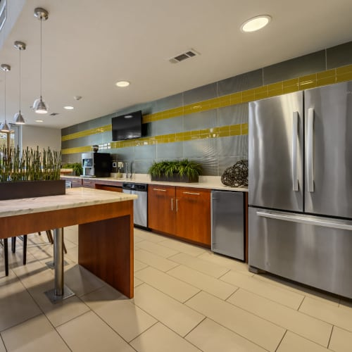 Large community clubhouse kitchen with stainless steel appliances at Sabina in Austin, Texas