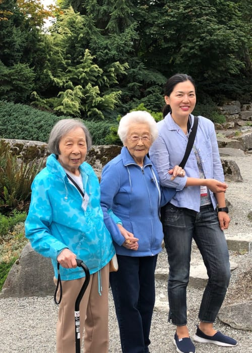Residents on a hike with family near Nikkei Manor in Seattle, Washington