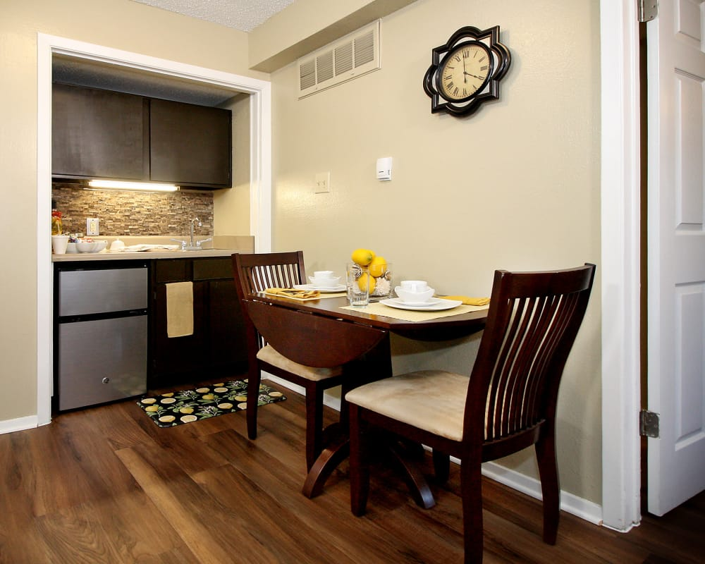 Model kitchen and dining nook at West Fork Village in Irving, Texas