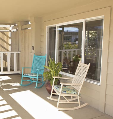 Porch at Discovery Memory Care in Sequim, Washington.
