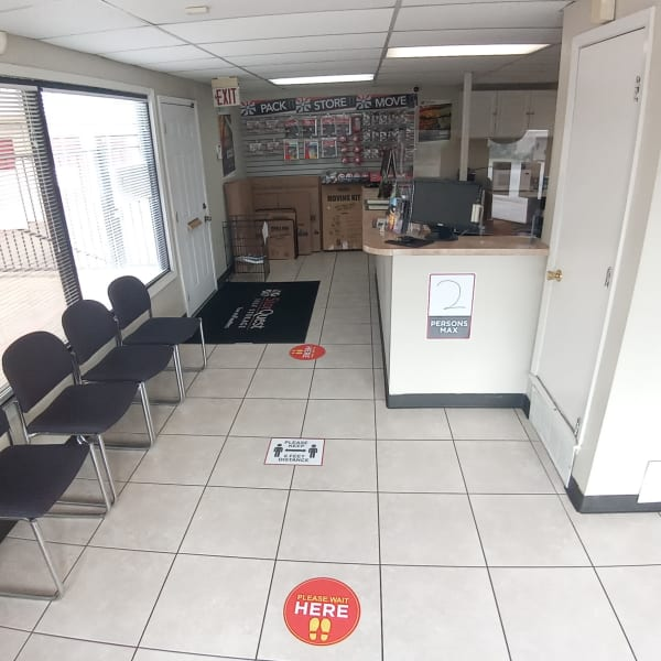 Interior of the leasing office at StorQuest Self Storage in Fort Worth, Texas