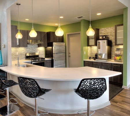 Clubhouse with bar seating at Deer Valley Apartment Homes in Roseville, California