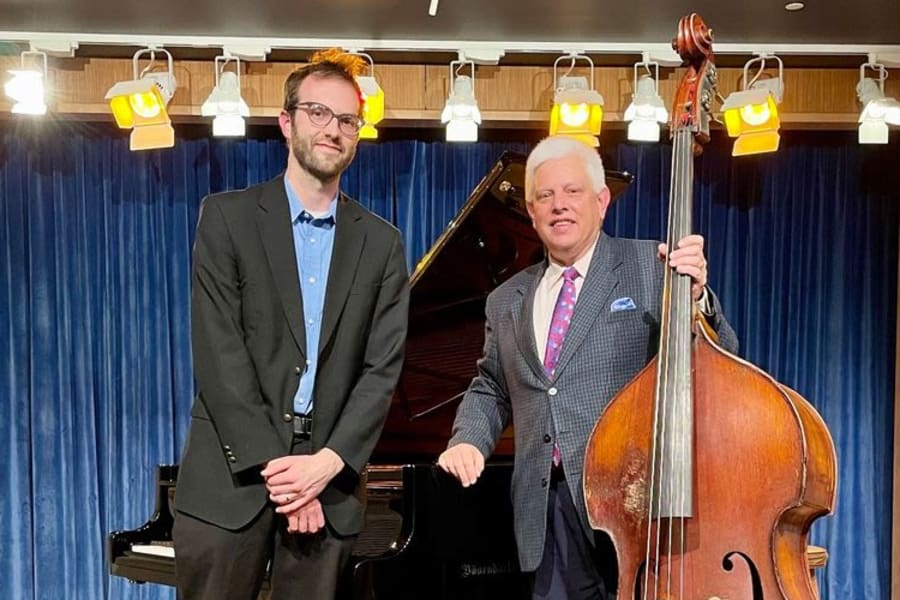 Dynamic Jazz Duo of Paul Keller on the Double Bass and Adam Mosley on our Bösendorfer