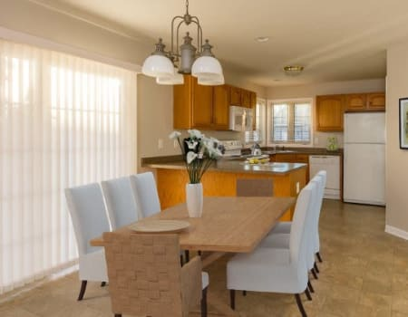 Elegant, spacious dining room at North Ponds Apartments in Webster, New York