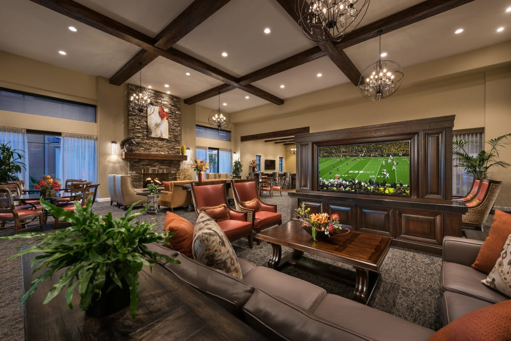 Contemporary decor in resident clubhouse at San Valencia in Chandler, Arizona