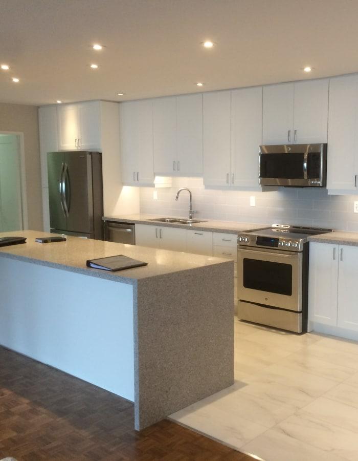 Modern kitchen at Widdicombe Place in Etobicoke