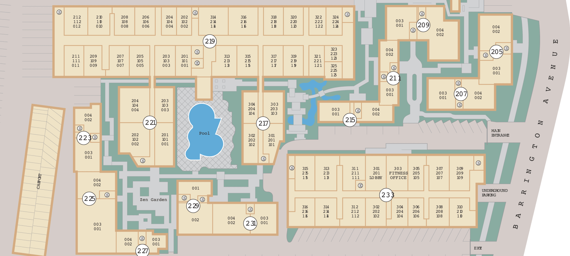 Site plan for Sunset Barrington Gardens in Los Angeles, California
