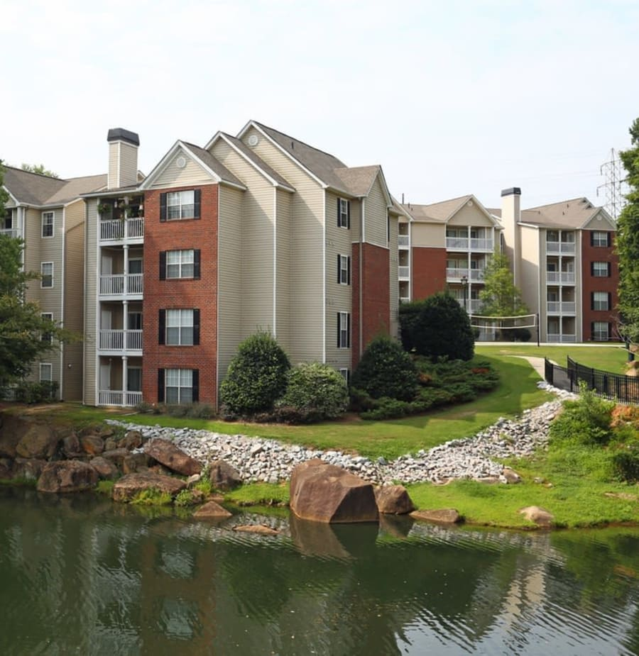 Exterior of apartment buildings at Broad River Trace in Columbia, South Carolina.
