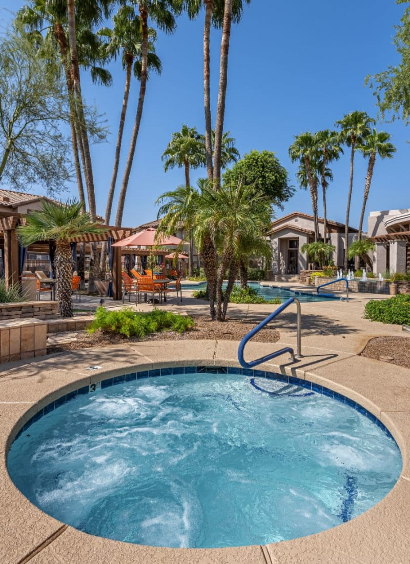 Outdoor spa next to pool at Azure Creek in Cave Creek, Arizona