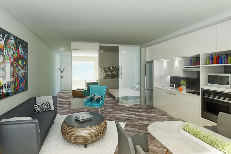 Interior rendering of modern apartment home at AdMo Heights in Washington, DC