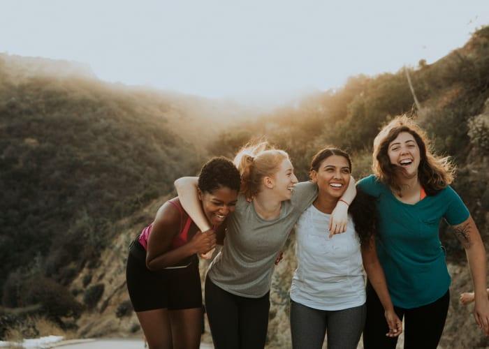 Friends hiking near a San Diego Self Storage location