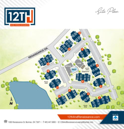Site map of 12th and Renaissance Apartments in Norman, Oklahoma
