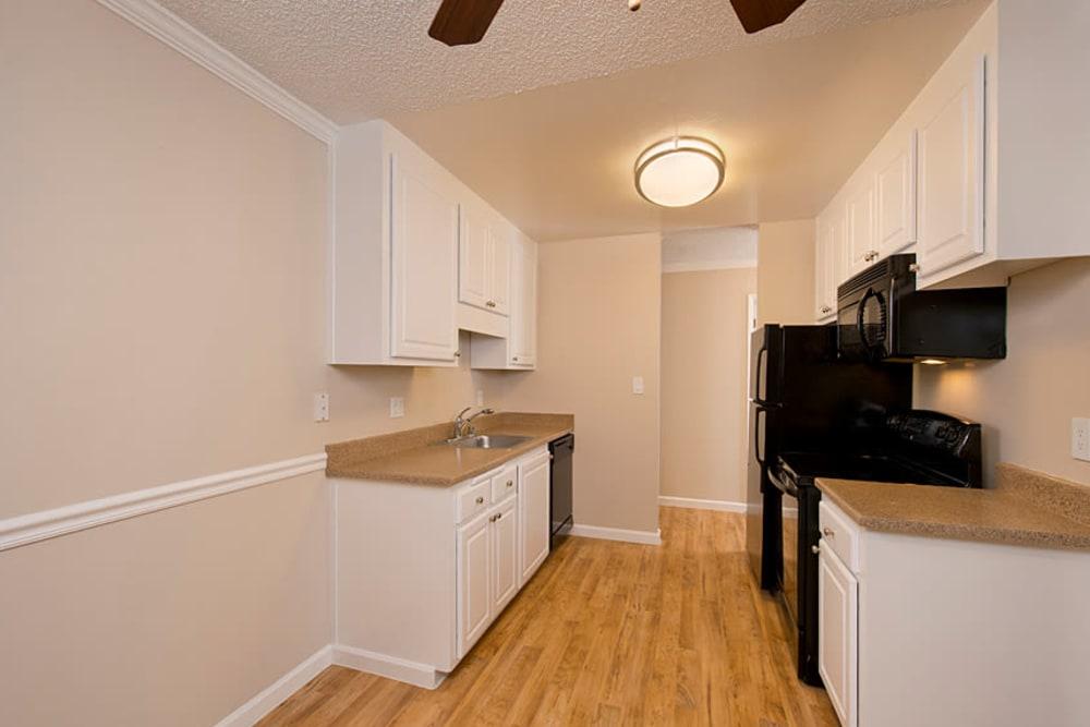 Modern kitchen with black appliances at Flora Condominium Rentals in Walnut Creek, California