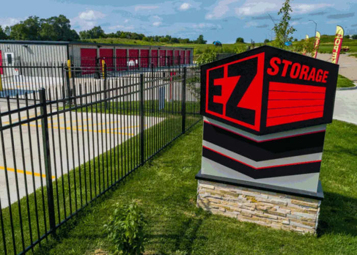 The sign in front of the entrance at EZ Storage in Des Moines, Iowa