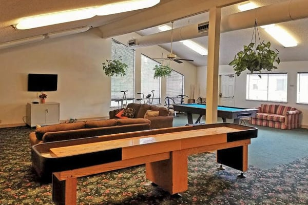 Pool table and other games at Leisure Manor Senior Living in Sacramento, California