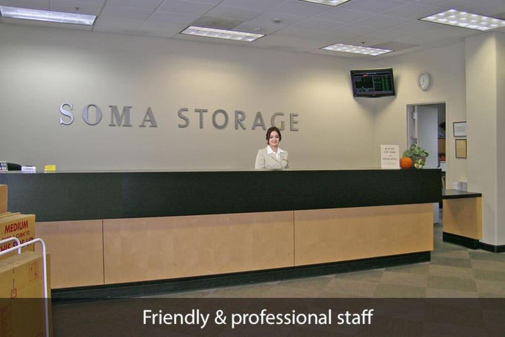 Front desk at SOMA Self-Storage in San Francisco, California