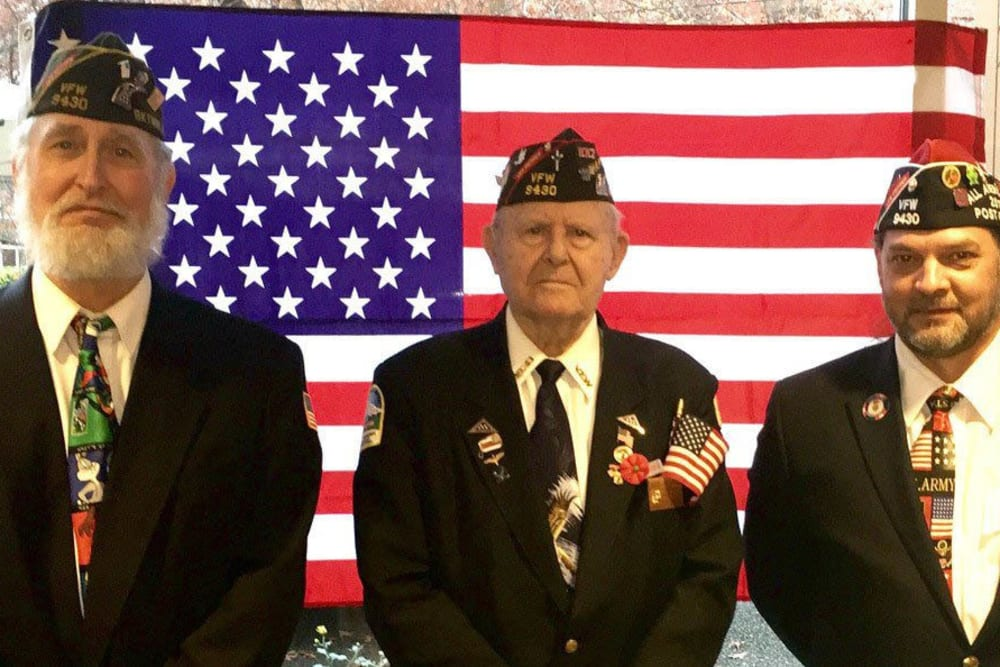Veterans in Uniform at Merrill Gardens at First Hill in Seattle, Washington