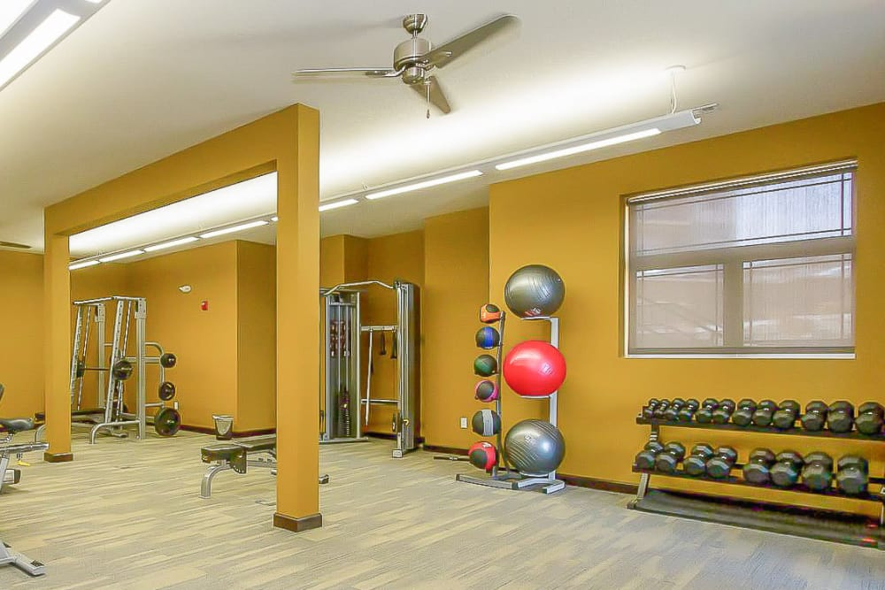 Fitness center at The Cascades at Jordan Creek in West Des Moines, Iowa