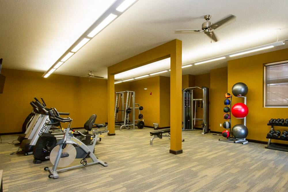 Workout room at The Cascades at Jordan Creek in West Des Moines, Iowa
