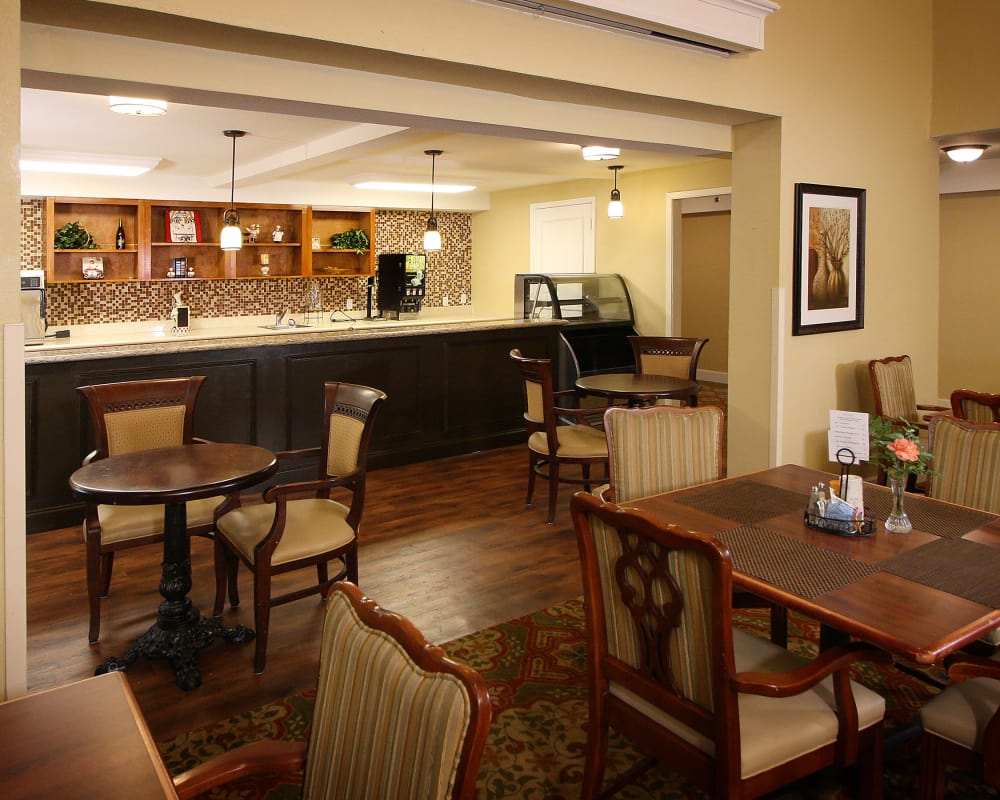 Coffee bar and seating area at West Fork Village in Irving, Texas