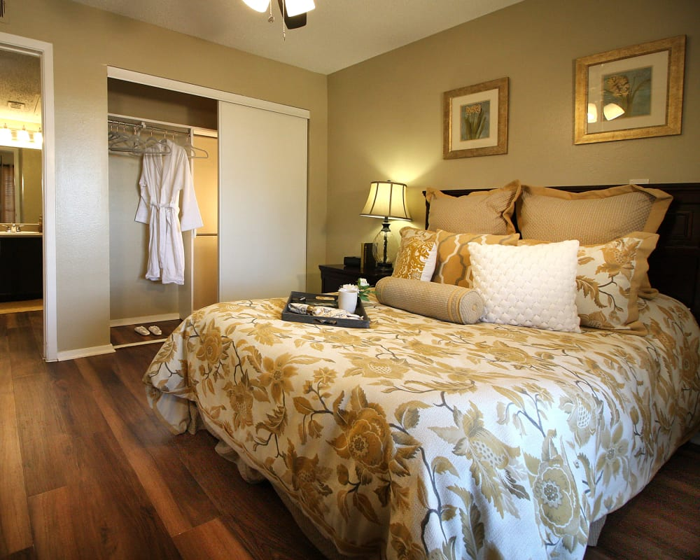 Bedroom with  large closet at West Fork Village in Irving, Texas