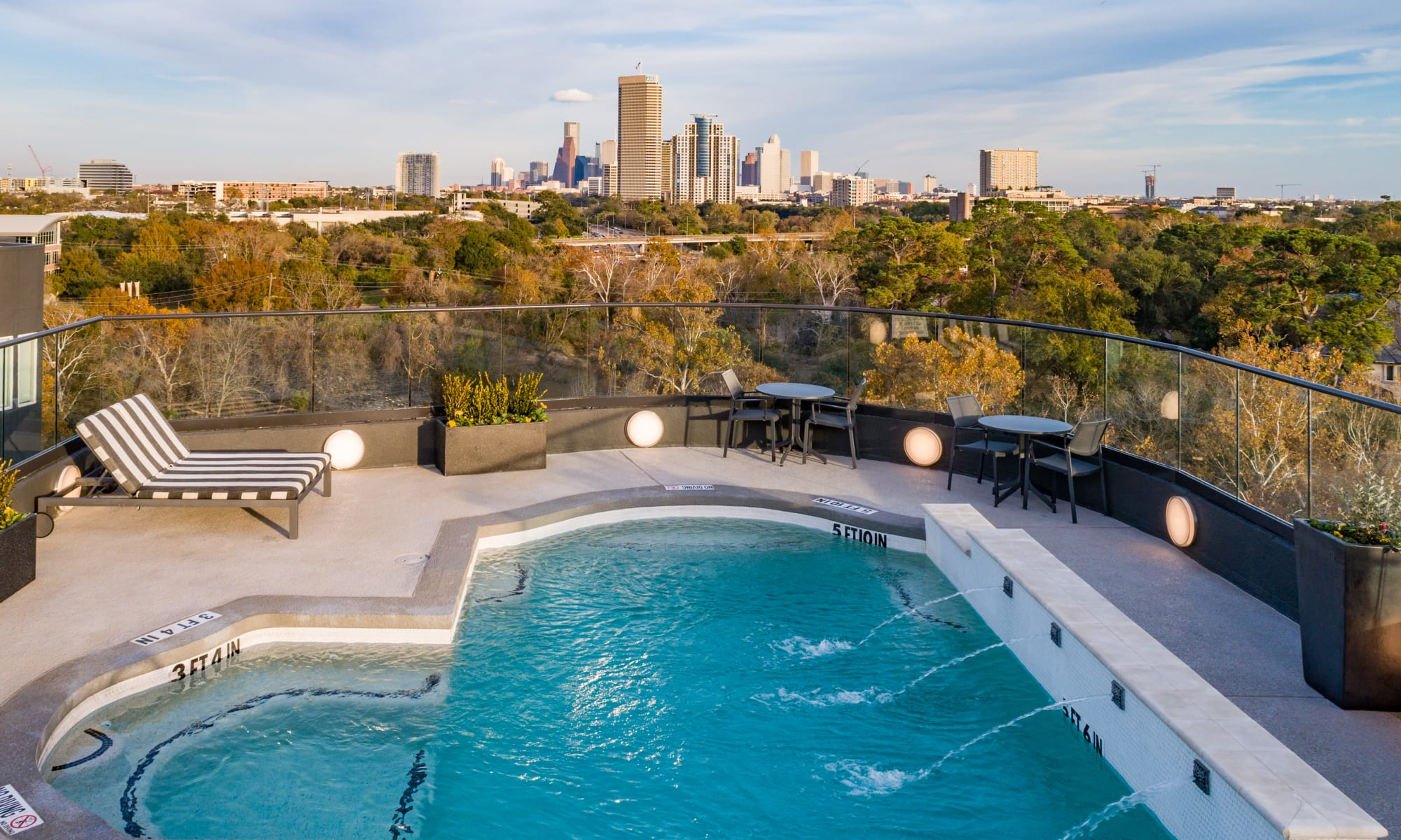 Roof top pool at Bayou on the Bend in Houston, Texas