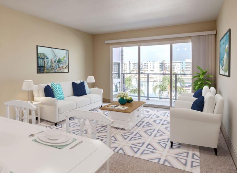 Sleek modern décor in an apartment at Harborside Marina Bay Apartments in Marina del Rey, California