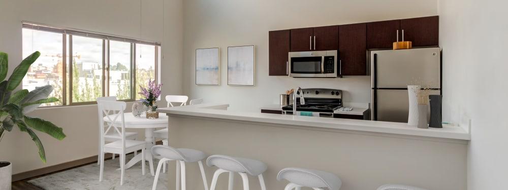 A kitchen with bar seating at Elan 41 Apartments in Seattle, Washington