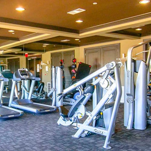 Well-equipped onsite fitness center at Anatole on Briarwood in Midland, Texas