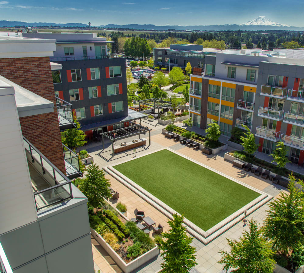 Aerial view of the outdoor courtyard at The Maverick in Burien, Washington