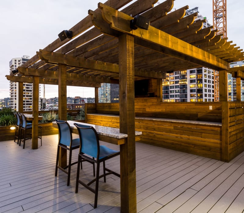 Community rooftop outdoor lounge at Marq 211 in Seattle, Washington