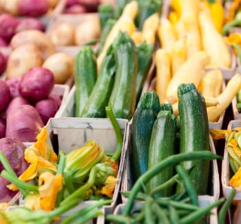 Fresh vegetables at a farmer's market near 770 C Street Apartments in Washington, District of Columbia