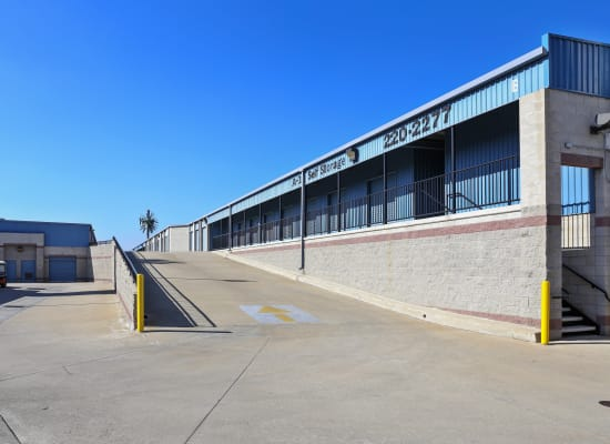 Wide driveways and outside ramps at A-1 Self Storage in Anaheim, California