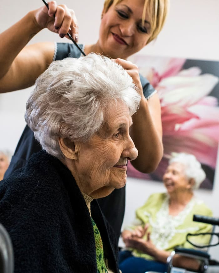Resident getting her hair done at the salon in The Springs at The Waterfront in Vancouver, Washington