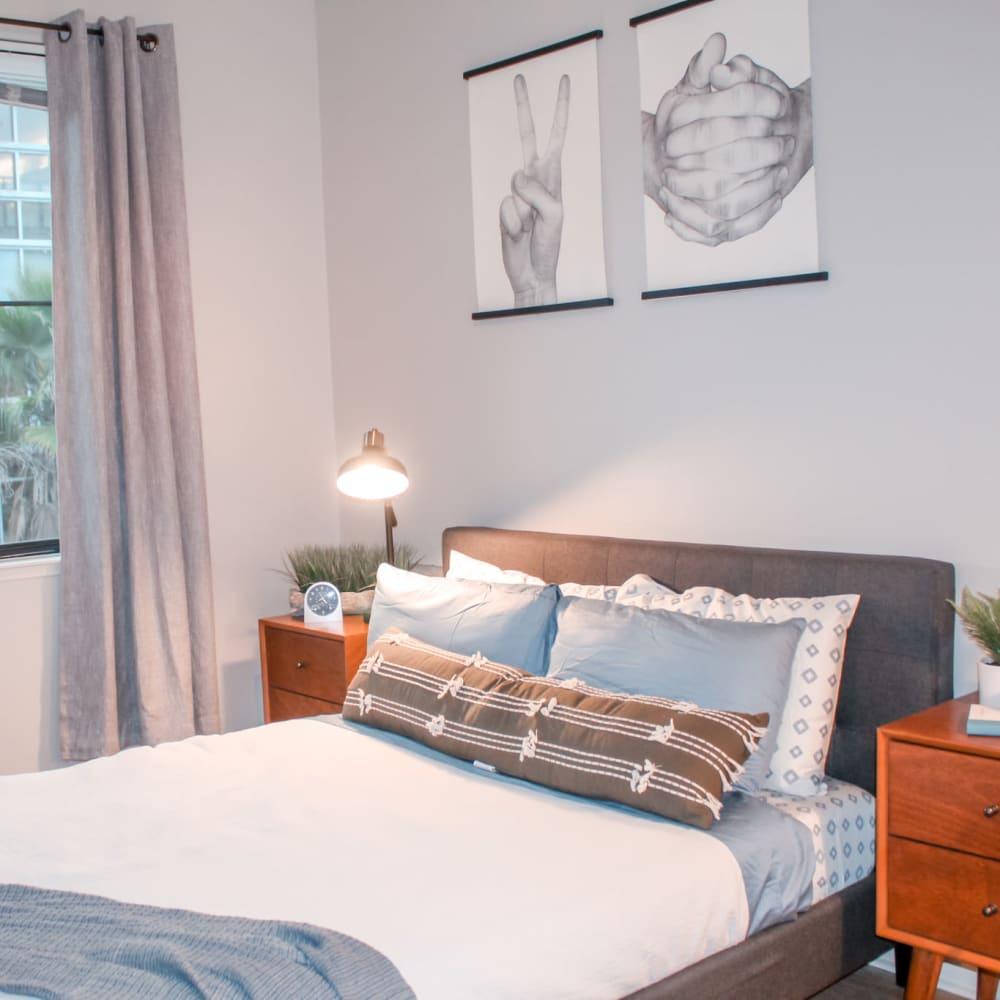Model bedroom at K Street Flats Apartment Homes in Berkeley, California