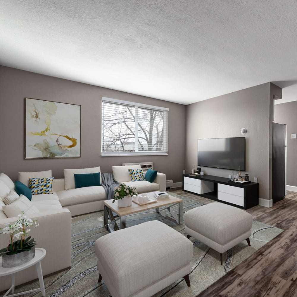 Modern living room and spacious hallway at Southglenn Place in Centennial, Colorado