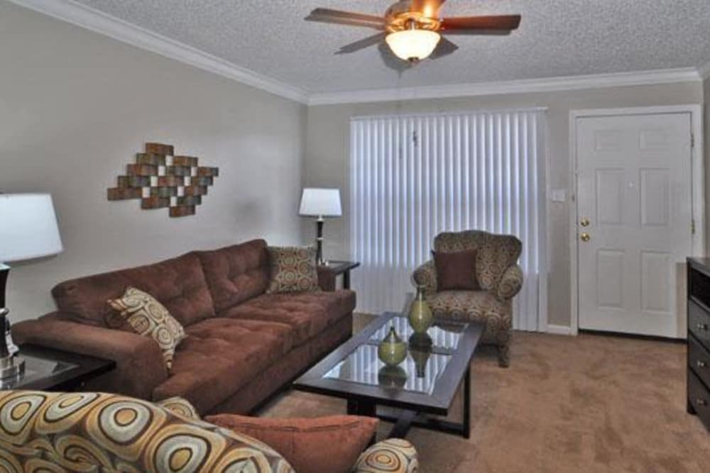 French Colony Apartments showcase a luxury living room in Lafayette, Louisiana