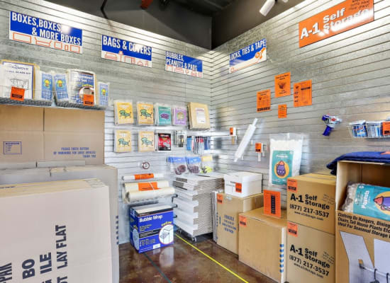 Packing and moving supplies available at A-1 Self Storage in Bell Gardens, California
