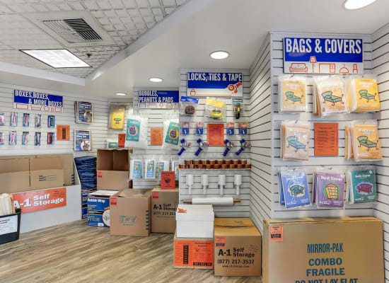 A selection of packing and moving supplies available at A-1 Self Storage in La Habra, California