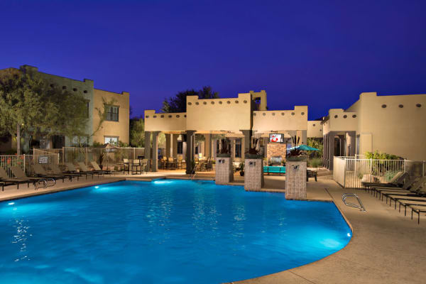Beautiful swimming pool at night at Las Colinas at Black Canyon in Phoenix, Arizona