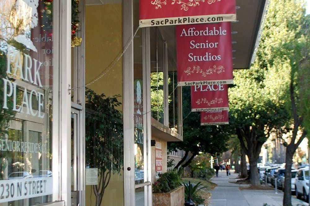 Walkway in front of Park Place Senior Living in Sacramento, California