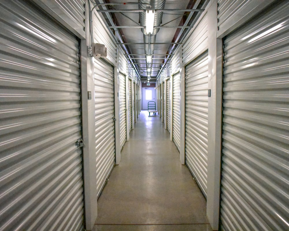White doors on interior climate-controlled storage units at STOR-N-LOCK Self Storage in Gypsum, Colorado