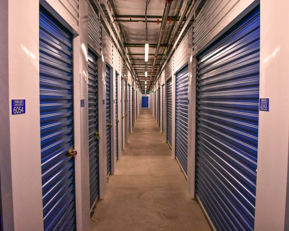 White doors on interior climate-controlled storage units at STOR-N-LOCK Self Storage in Colorado Springs, Colorado