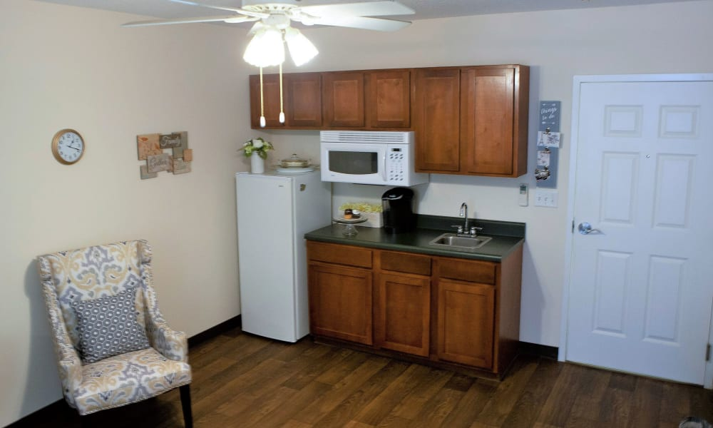 Full kitchens are offered in the apartments at The Grande in Brooksville, Florida