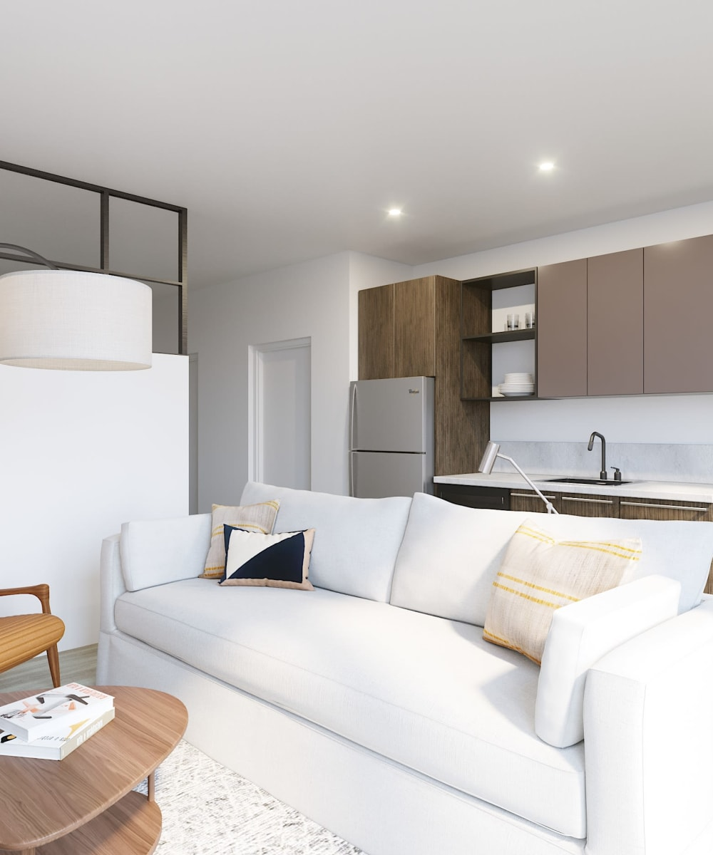A comfortable apartment living room at Arthaus Apartments in Allston, Massachusetts