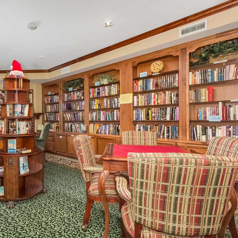 Library at Applewood Pointe Woodbury in Woodbury, Minnesota.